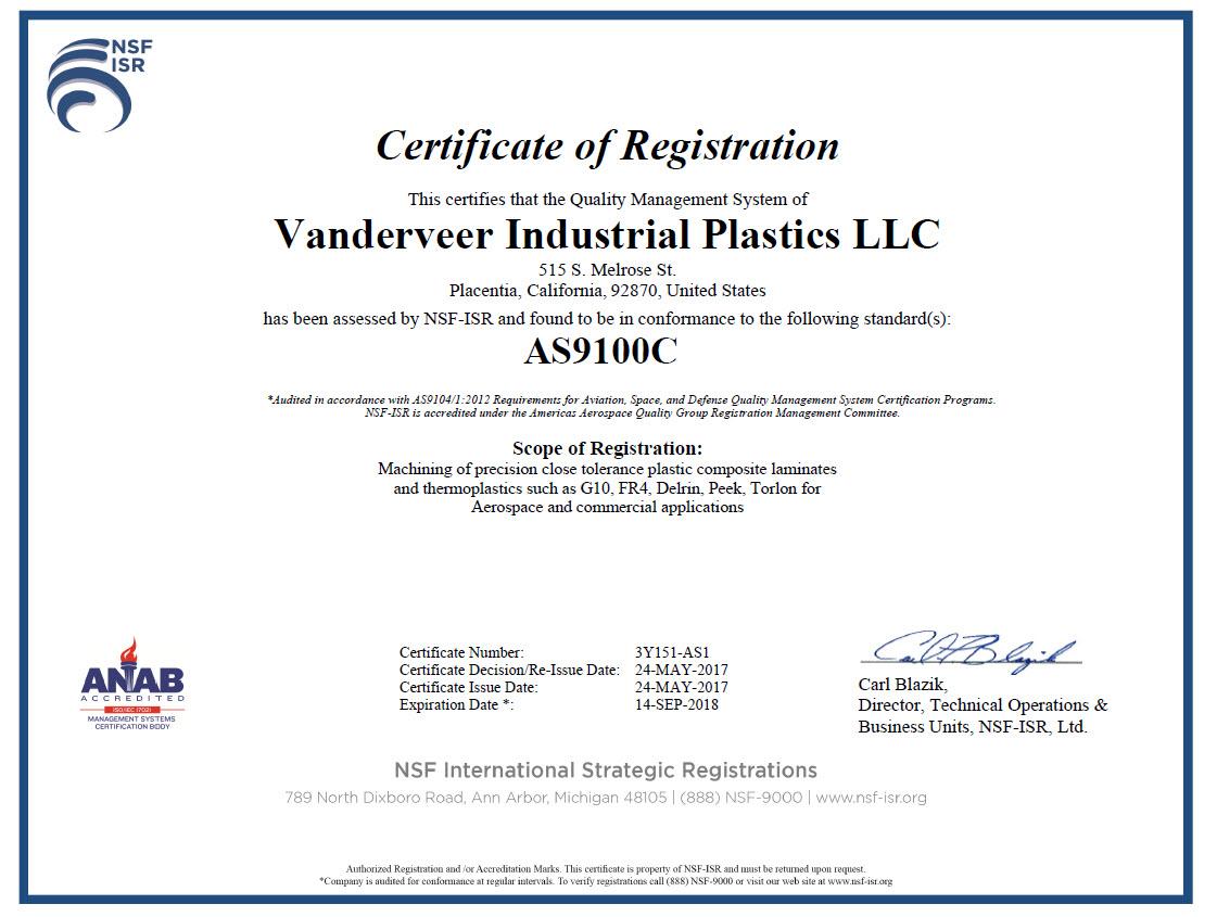 Vanderveers as 9100 certificate vanderveer industrial plastics as9100 certificate 1betcityfo Image collections